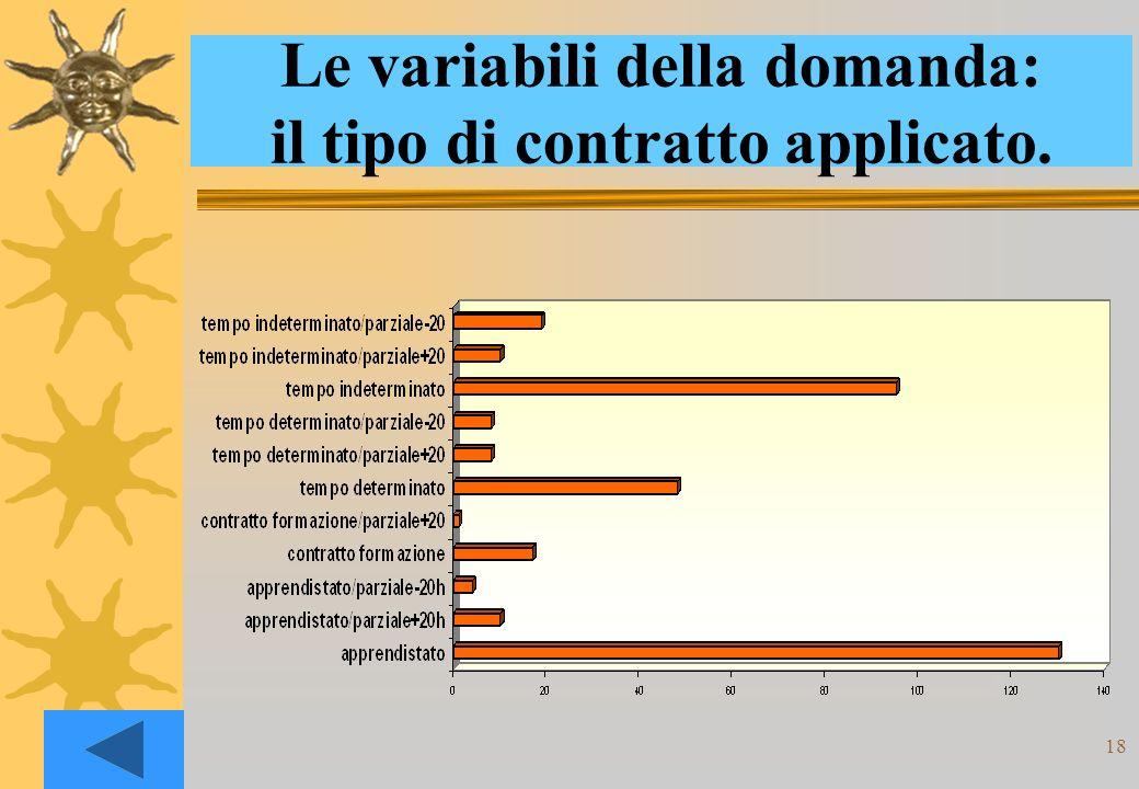 18 Le variabili della domanda: il tipo di contratto applicato.