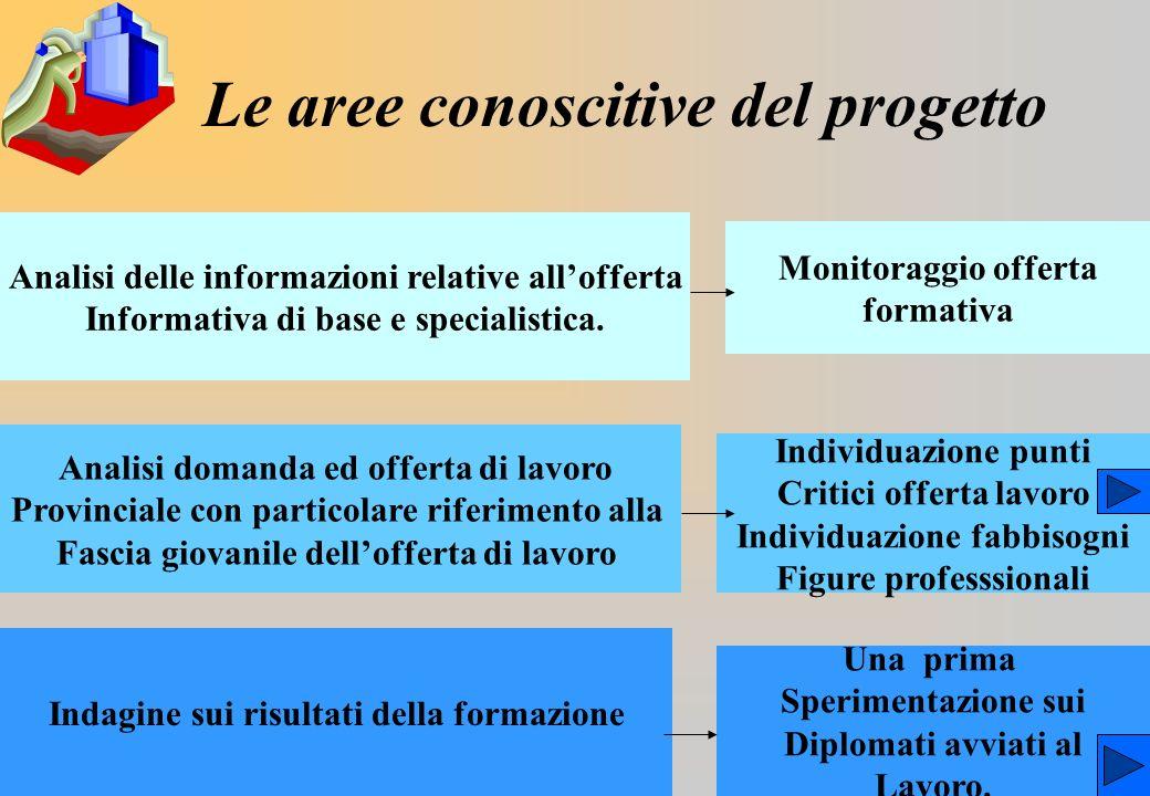 Le aree conoscitive del progetto Analisi delle informazioni relative allofferta Informativa di base e specialistica.