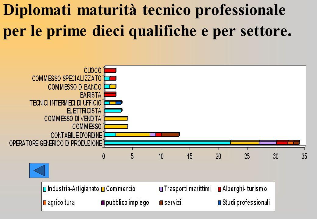 Diplomati maturità tecnico professionale per le prime dieci qualifiche e per settore.