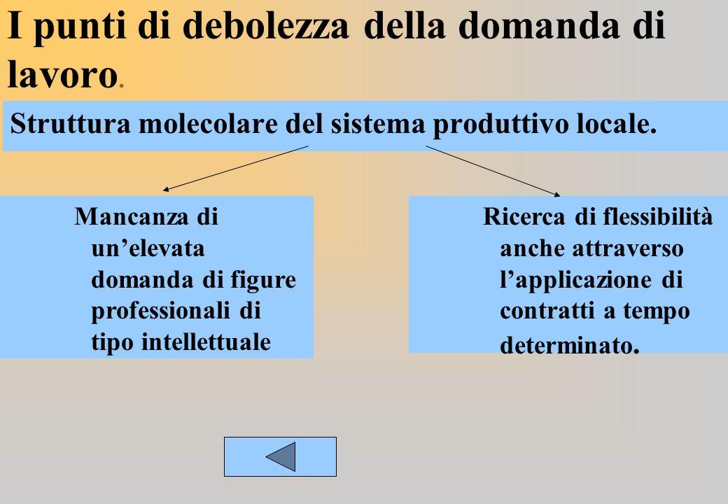 I punti di debolezza della domanda di lavoro. Struttura molecolare del sistema produttivo locale.