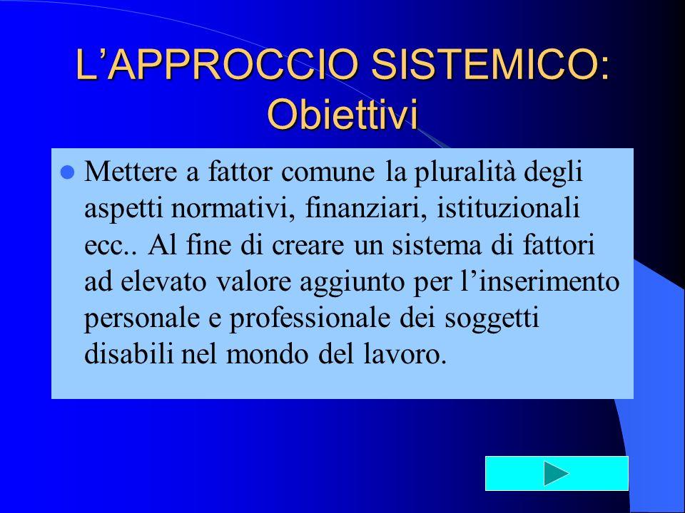 LAPPROCCIO SISTEMICO: Obiettivi Mettere a fattor comune la pluralità degli aspetti normativi, finanziari, istituzionali ecc..