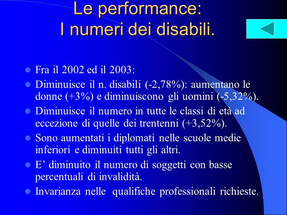 Le performance: I numeri dei disabili. Fra il 2002 ed il 2003: Diminuisce il n. disabili (-2,78%): aumentano le donne (+3%) e diminuiscono gli uomini