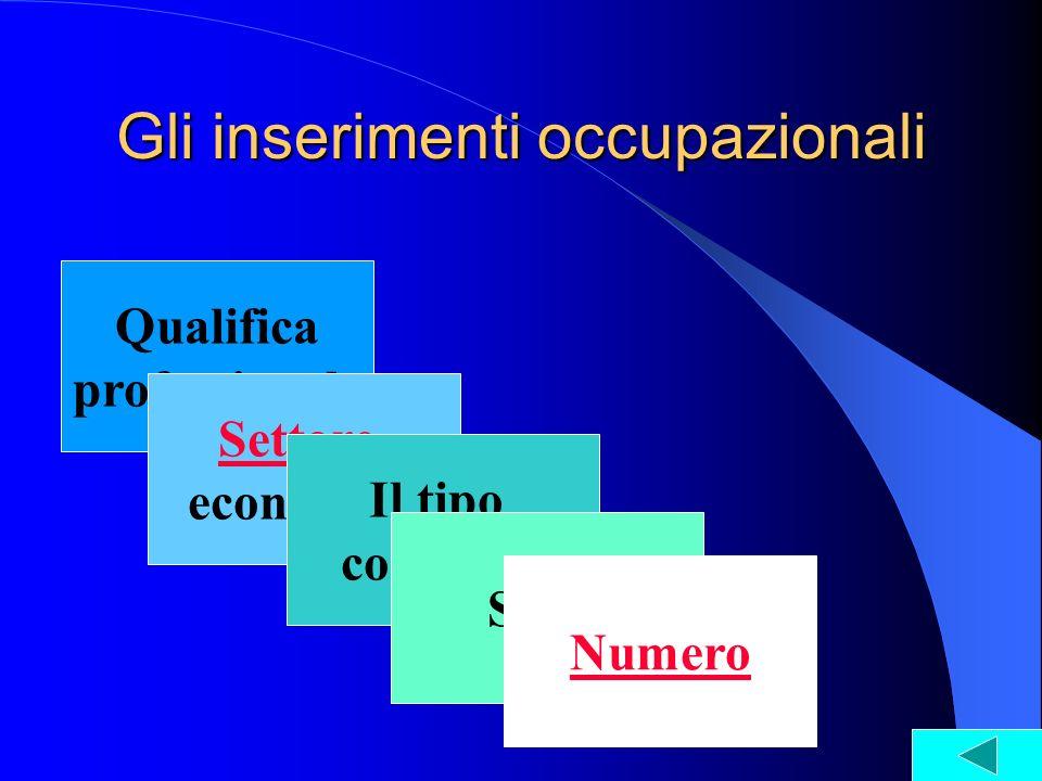 Qualifica professionale Settore economico Il tipo contratto Gli inserimenti occupazionali Sesso Numero