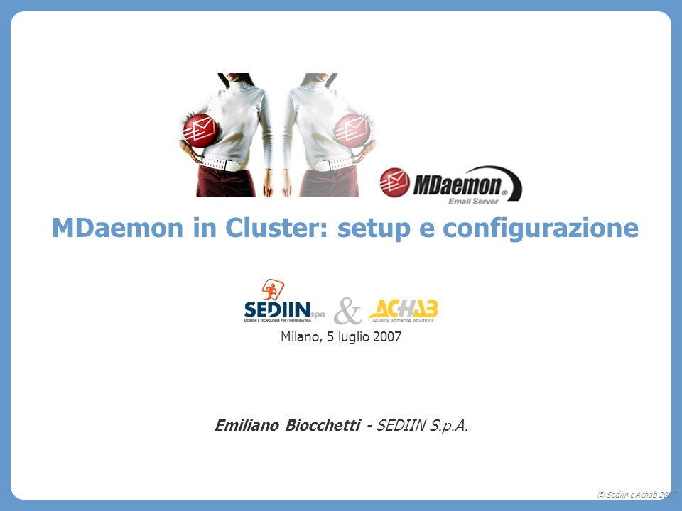 © Sediin e Achab 2007 MDaemon in Cluster: setup e configurazione Milano, 5 luglio 2007 Emiliano Biocchetti - SEDIIN S.p.A. &