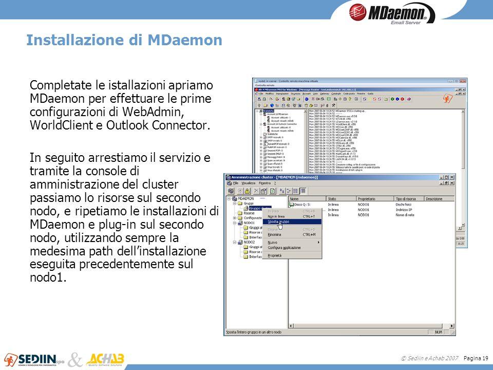 © Sediin e Achab 2007 Pagina 19 Installazione di MDaemon Completate le istallazioni apriamo MDaemon per effettuare le prime configurazioni di WebAdmin