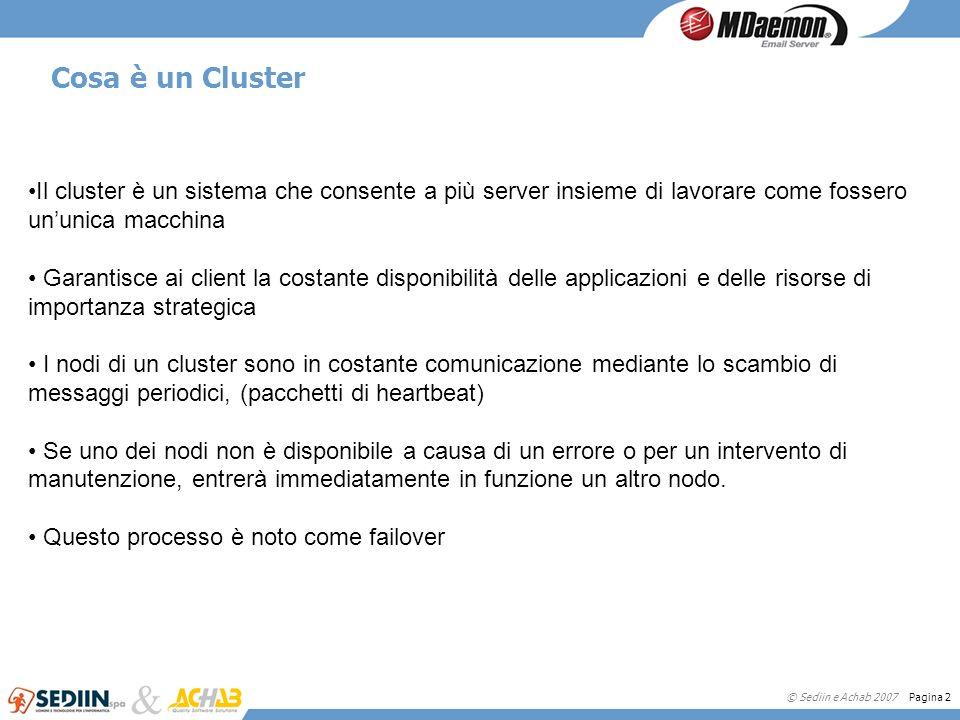 © Sediin e Achab 2007 Pagina 2 Cosa è un Cluster Il cluster è un sistema che consente a più server insieme di lavorare come fossero ununica macchina G