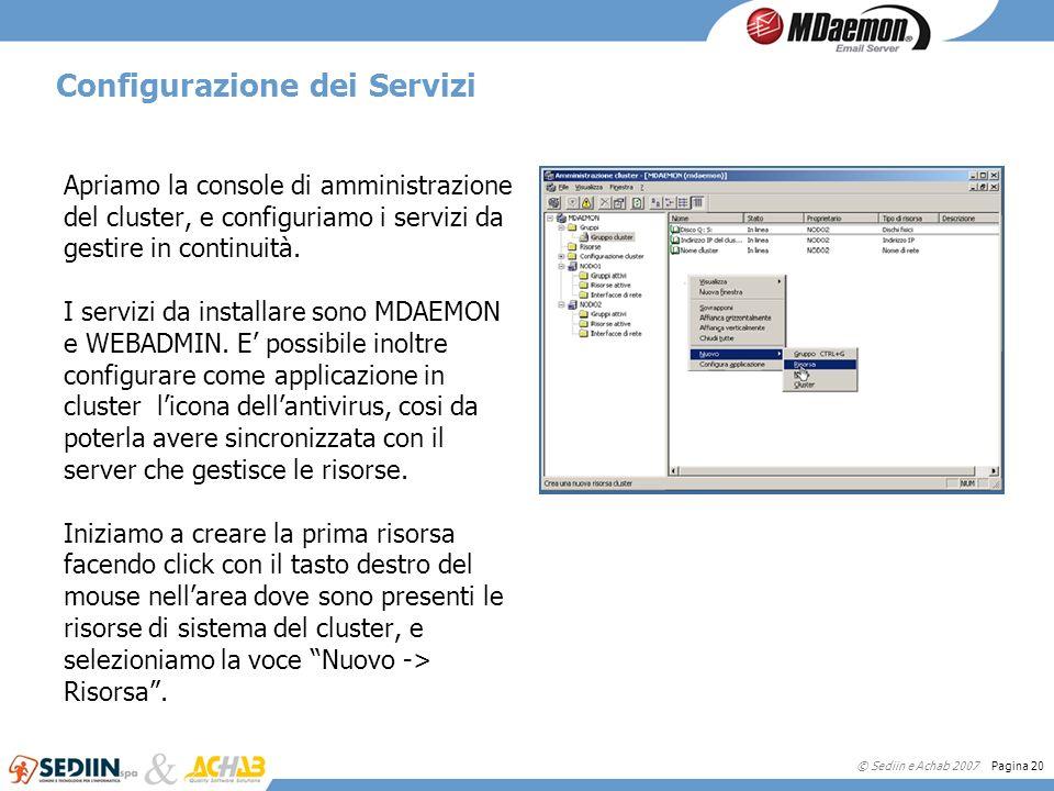 © Sediin e Achab 2007 Pagina 20 Configurazione dei Servizi Apriamo la console di amministrazione del cluster, e configuriamo i servizi da gestire in c