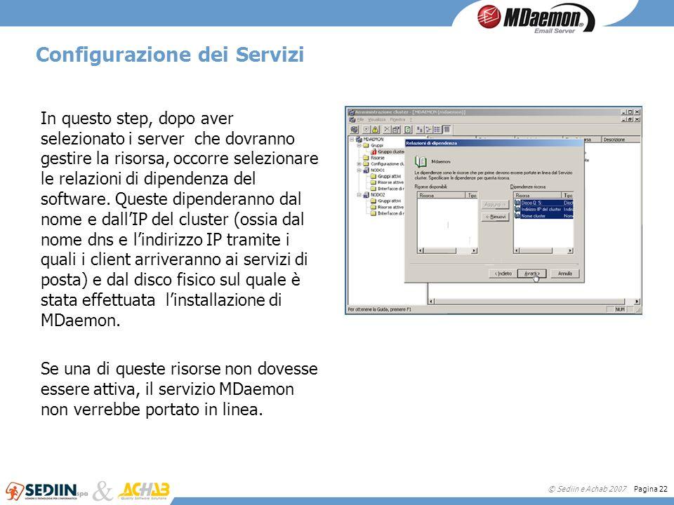 © Sediin e Achab 2007 Pagina 22 Configurazione dei Servizi In questo step, dopo aver selezionato i server che dovranno gestire la risorsa, occorre sel