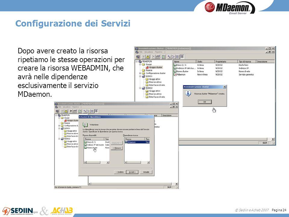 © Sediin e Achab 2007 Pagina 24 Configurazione dei Servizi Dopo avere creato la risorsa ripetiamo le stesse operazioni per creare la risorsa WEBADMIN,
