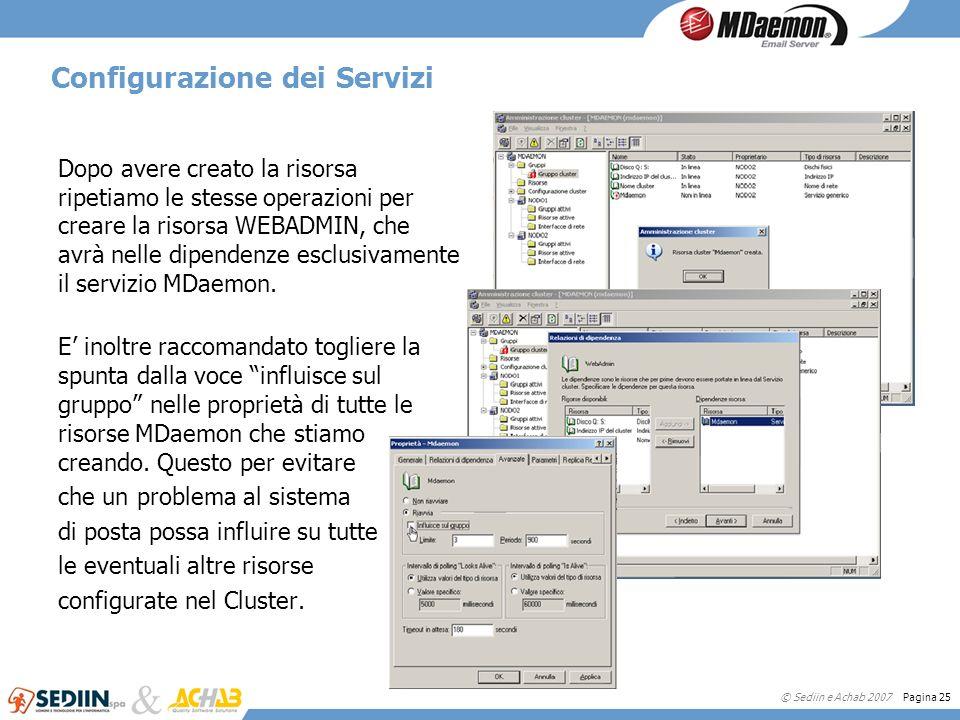 © Sediin e Achab 2007 Pagina 25 Configurazione dei Servizi Dopo avere creato la risorsa ripetiamo le stesse operazioni per creare la risorsa WEBADMIN,