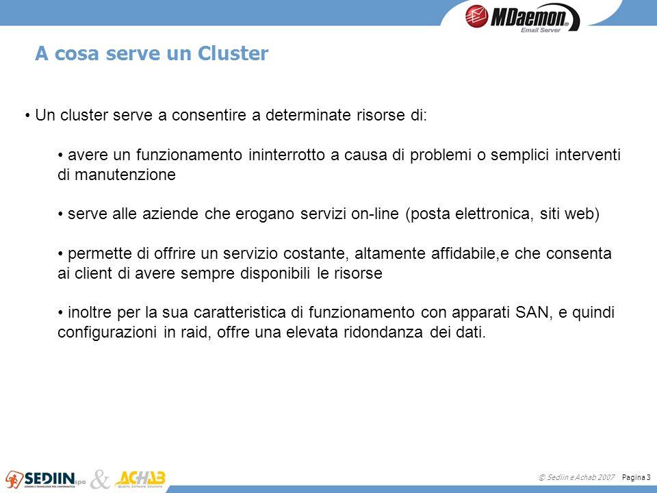 © Sediin e Achab 2007 Pagina 3 A cosa serve un Cluster Un cluster serve a consentire a determinate risorse di: avere un funzionamento ininterrotto a c