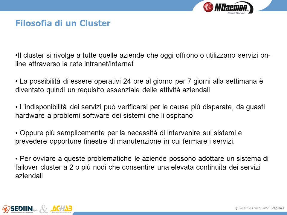 © Sediin e Achab 2007 Pagina 4 Filosofia di un Cluster Il cluster si rivolge a tutte quelle aziende che oggi offrono o utilizzano servizi on- line att