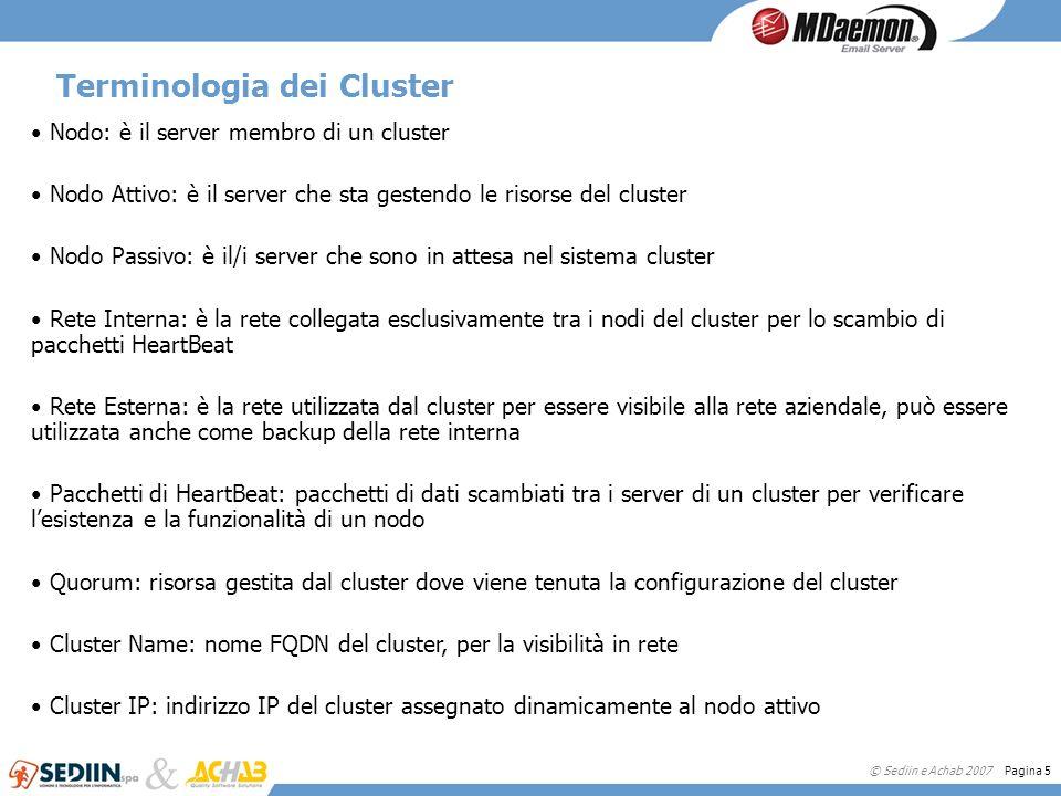 © Sediin e Achab 2007 Pagina 5 Terminologia dei Cluster Nodo: è il server membro di un cluster Nodo Attivo: è il server che sta gestendo le risorse de