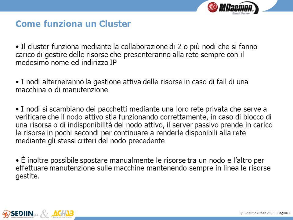 © Sediin e Achab 2007 Pagina 7 Come funziona un Cluster Il cluster funziona mediante la collaborazione di 2 o più nodi che si fanno carico di gestire