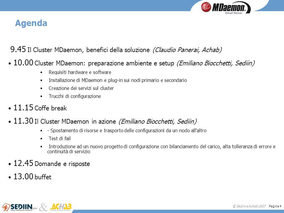 © Sediin e Achab 2007 Pagina 4 Agenda 9.45 Il Cluster MDaemon, benefici della soluzione (Claudio Panerai, Achab) 10.00 Cluster MDaemon: preparazione a