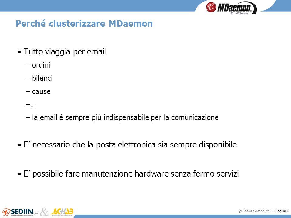 © Sediin e Achab 2007 Pagina 7 Perché clusterizzare MDaemon Tutto viaggia per email – ordini – bilanci – cause –… – la email è sempre più indispensabi