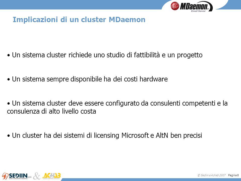© Sediin e Achab 2007 Pagina 8 Implicazioni di un cluster MDaemon Un sistema cluster richiede uno studio di fattibilità e un progetto Un sistema sempr