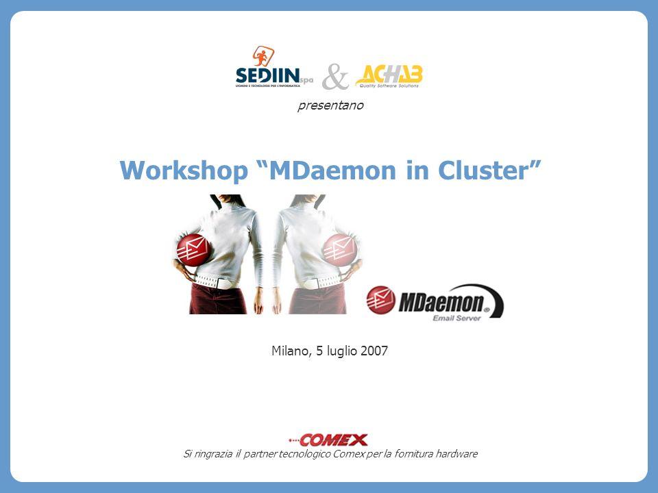 presentano Workshop MDaemon in Cluster Milano, 5 luglio 2007 Si ringrazia il partner tecnologico Comex per la fornitura hardware &