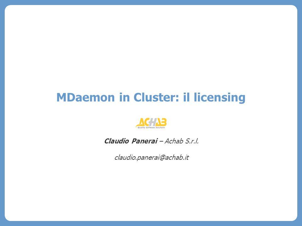 © Sediin e Achab 2007 Pagina 3 La licenza di MDaemon 9.6+ Cluster a basso costo – un server con una copia inattiva di MDaemon da sincronizzare ogni notte Il nuovo EULA (End User license Agreement) recita che ogni singola copia installata - anche se inattiva - debba essere coperta da una propria licenza.