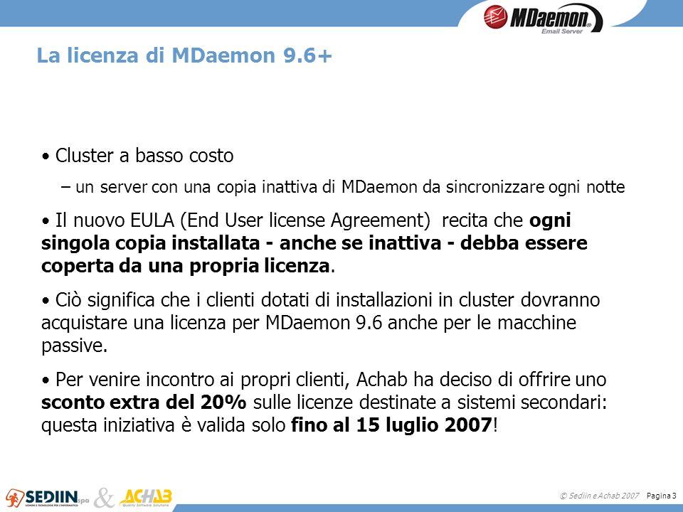 © Sediin e Achab 2007 Pagina 4 I costi di un cluster MDaemon 2 server HP DL360 G5 Xeon3.600 2 schede per la SAN360 SAN + dischi3.700 2 Windows Server 2003 Ent.