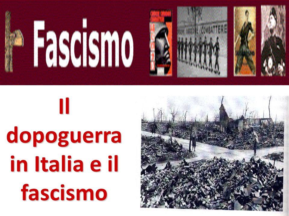 Il primo dopoguerra in Italia LItalia salutò la fine della guerra con grandi manifestazioni di gioia.