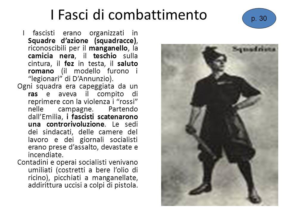 I fascisti erano organizzati in Squadre dazione (squadracce), riconoscibili per il manganello, la camicia nera, il teschio sulla cintura, il fez in te