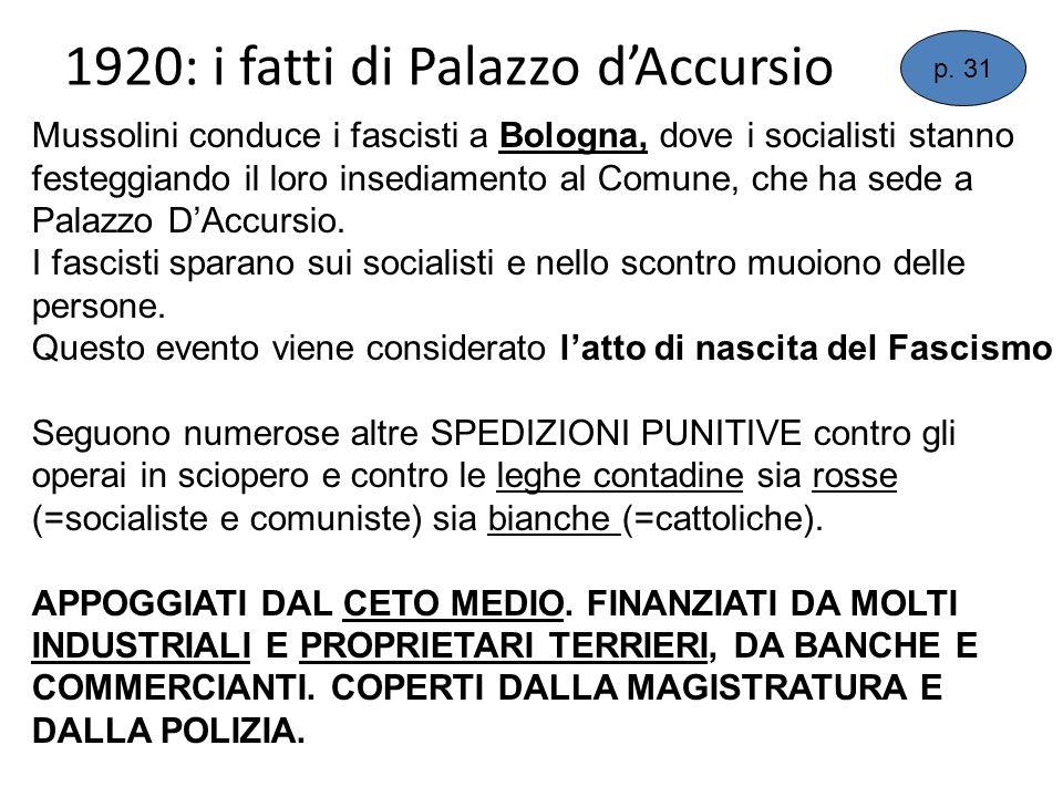 1920: i fatti di Palazzo dAccursio p. 31 Mussolini conduce i fascisti a Bologna, dove i socialisti stanno festeggiando il loro insediamento al Comune,
