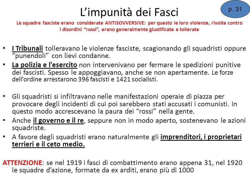 Limpunità dei Fasci Le squadre fasciste erano considerate ANTISOVVERSIVE: per questo le loro violenze, rivolte contro i disordini rossi, erano general
