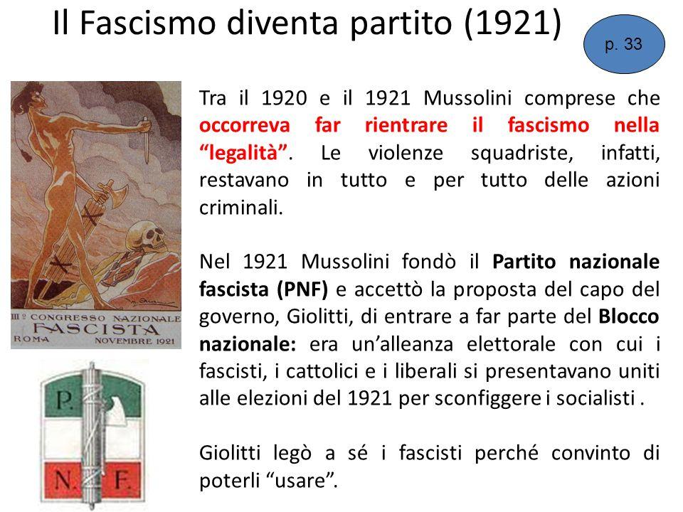 Il Fascismo diventa partito (1921) Tra il 1920 e il 1921 Mussolini comprese che occorreva far rientrare il fascismo nella legalità. Le violenze squadr