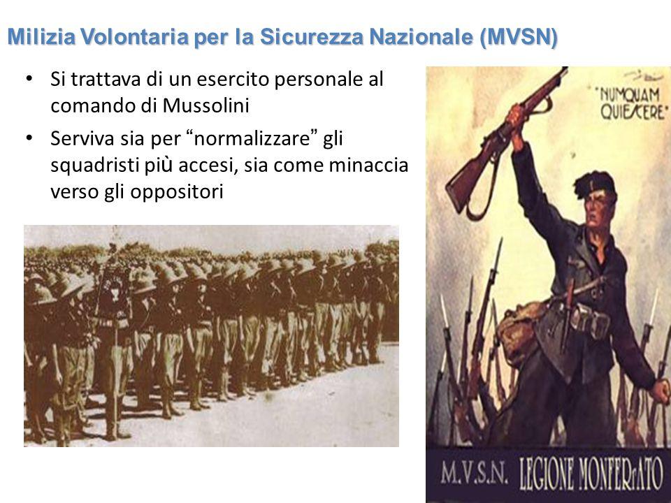Si trattava di un esercito personale al comando di Mussolini Serviva sia per normalizzare gli squadristi pi ù accesi, sia come minaccia verso gli oppo