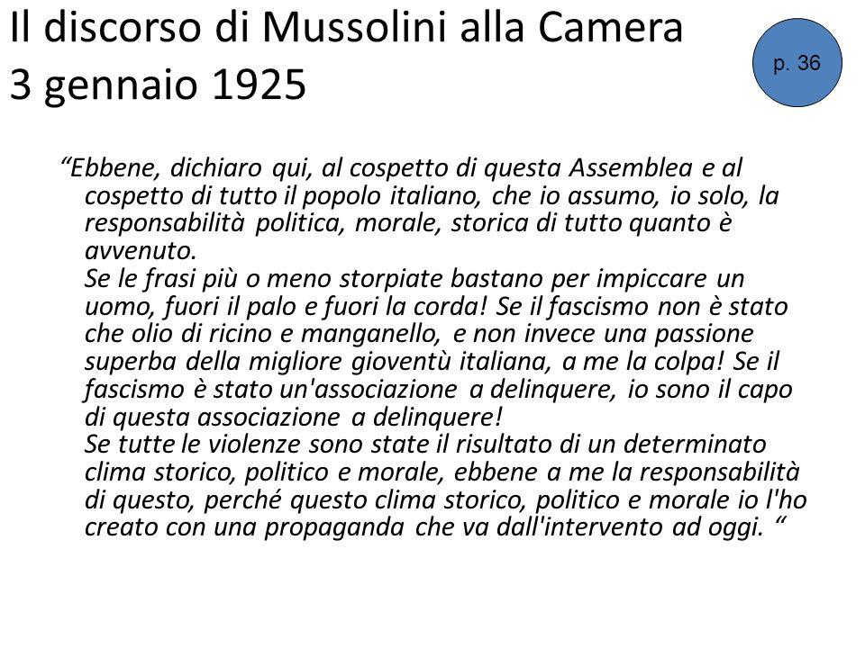 Il discorso di Mussolini alla Camera 3 gennaio 1925 Ebbene, dichiaro qui, al cospetto di questa Assemblea e al cospetto di tutto il popolo italiano, c