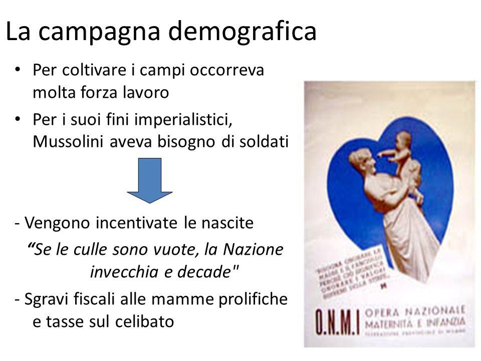 La campagna demografica Per coltivare i campi occorreva molta forza lavoro Per i suoi fini imperialistici, Mussolini aveva bisogno di soldati - Vengon