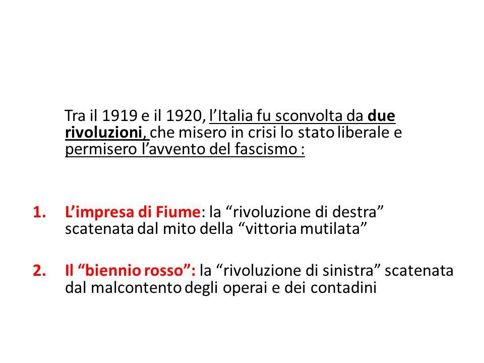 Tra il 1919 e il 1920, lItalia fu sconvolta da due rivoluzioni, che misero in crisi lo stato liberale e permisero lavvento del fascismo : 1.Limpresa d