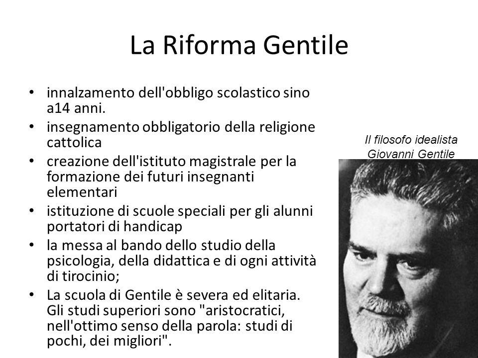 La Riforma Gentile innalzamento dell'obbligo scolastico sino a14 anni. insegnamento obbligatorio della religione cattolica creazione dell'istituto mag