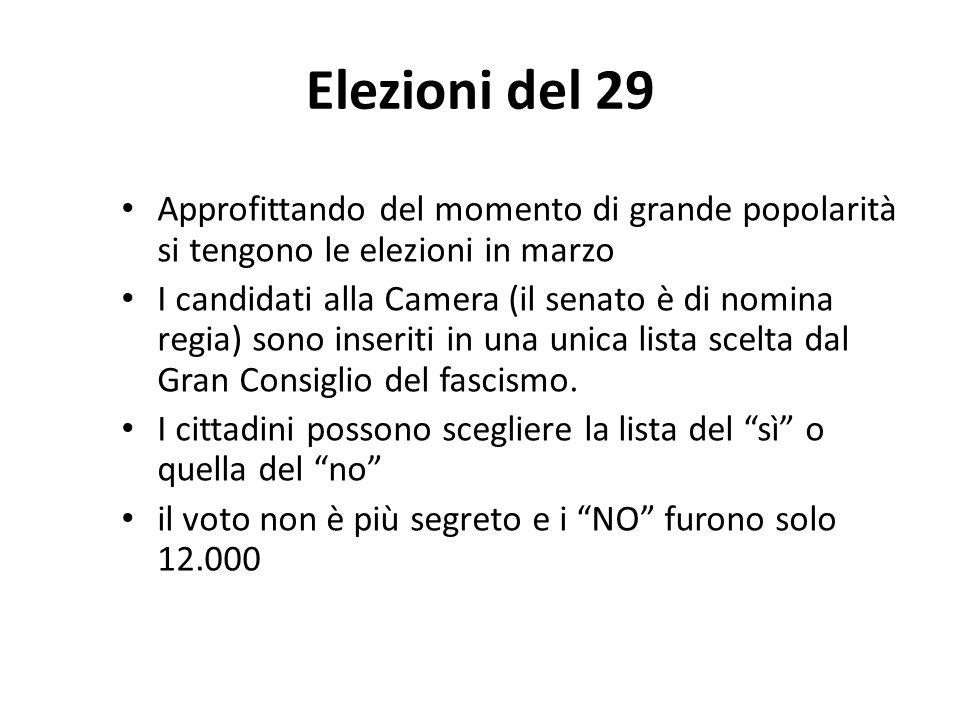 Elezioni del 29 Approfittando del momento di grande popolarità si tengono le elezioni in marzo I candidati alla Camera (il senato è di nomina regia) s