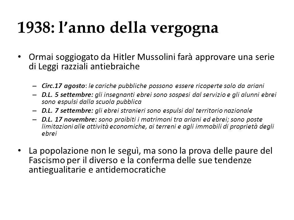 1938: l anno della vergogna Ormai soggiogato da Hitler Mussolini farà approvare una serie di Leggi razziali antiebraiche – Circ.17 agosto: le cariche
