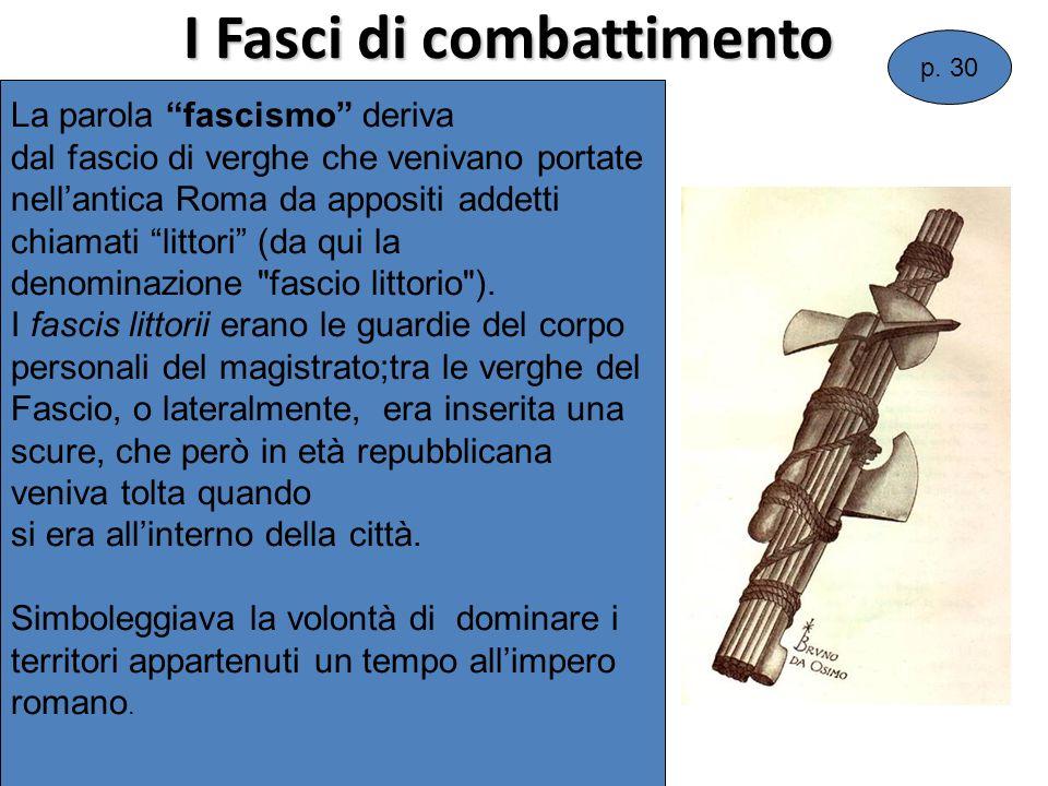 I Fasci di combattimento Organizzazione paramilitare Fondata a Milano Nel 1919 Formata da appartenenti al ceto medio ed ex combattenti Disprezzo per i