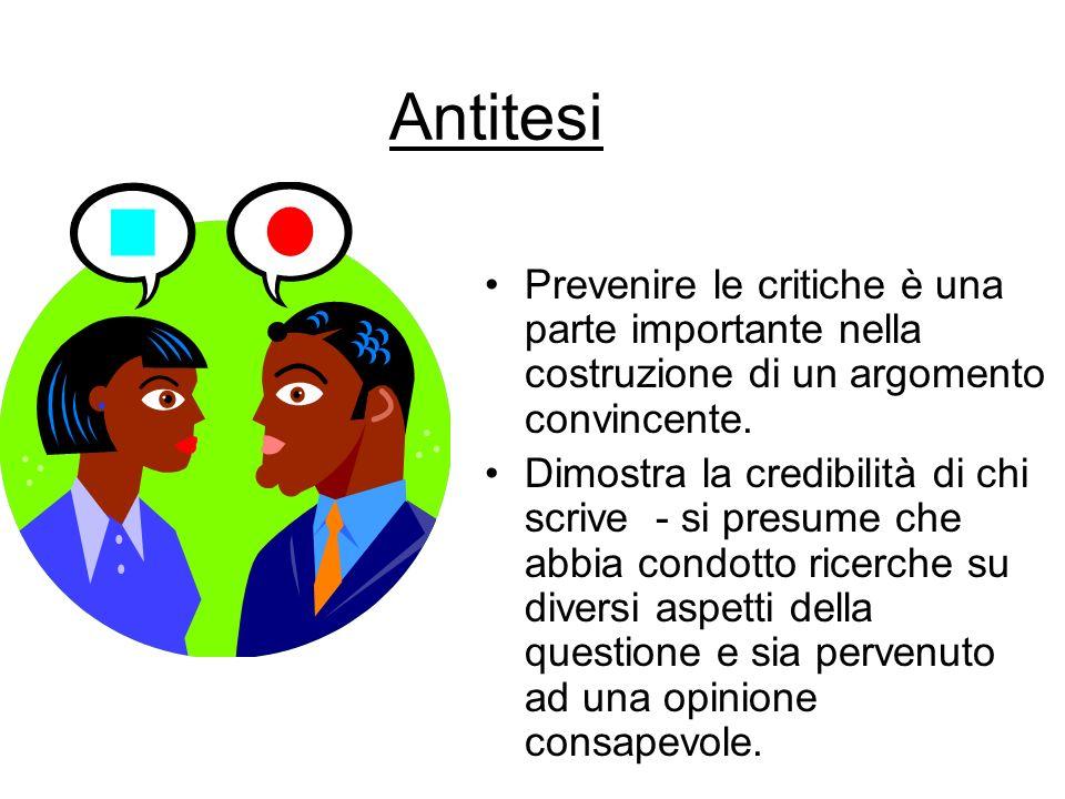 Antitesi Prevenire le critiche è una parte importante nella costruzione di un argomento convincente. Dimostra la credibilità di chi scrive - si presum