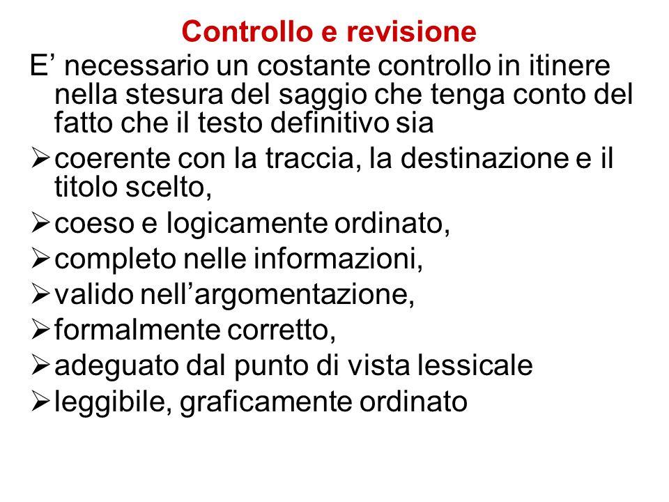 Controllo e revisione E necessario un costante controllo in itinere nella stesura del saggio che tenga conto del fatto che il testo definitivo sia coe
