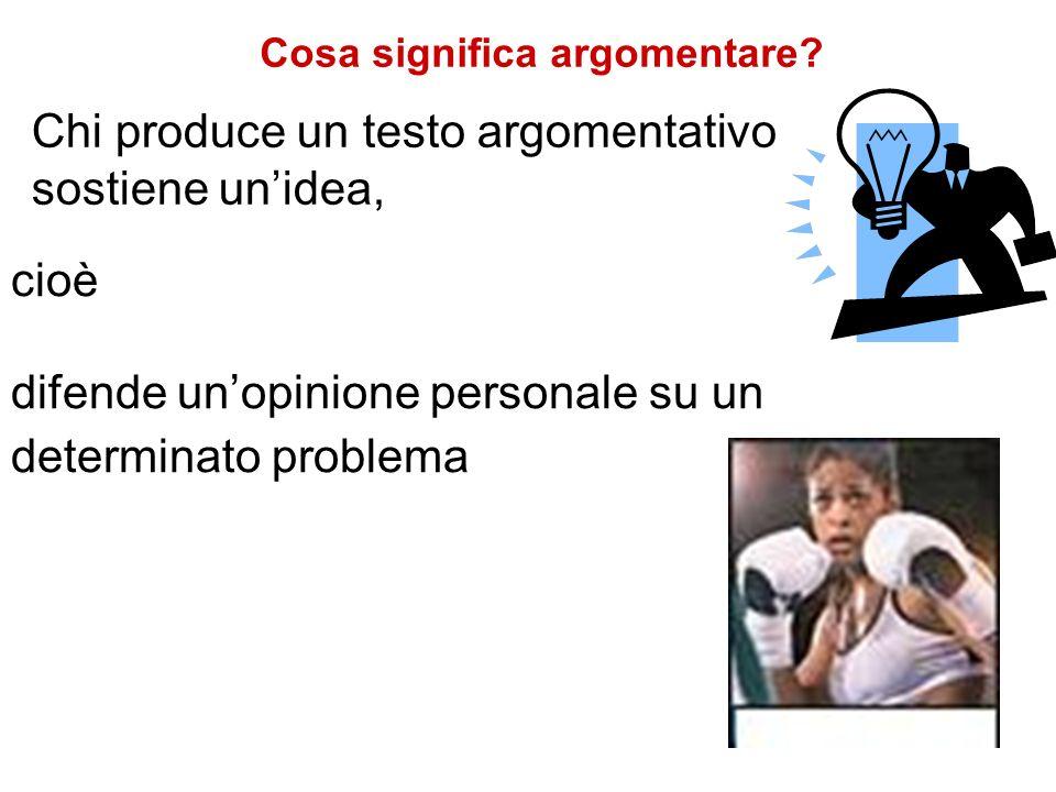 cioè difende unopinione personale su un determinato problema Chi produce un testo argomentativo sostiene unidea, Cosa significa argomentare?