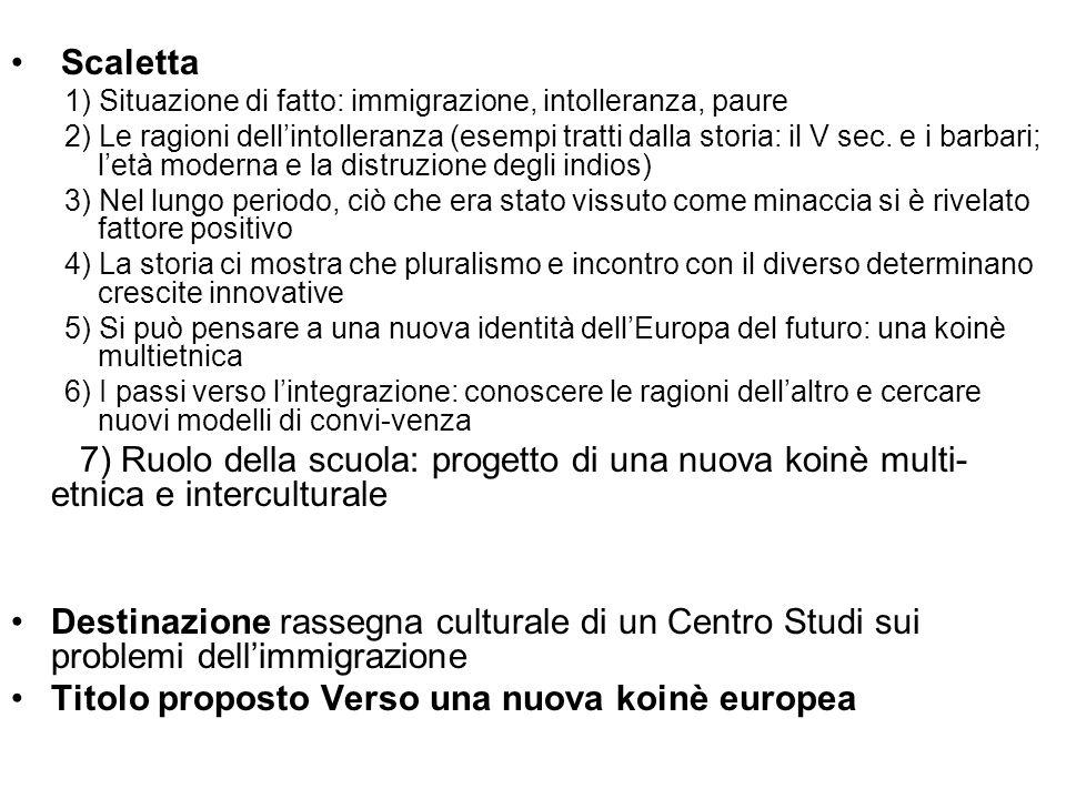 Scaletta 1) Situazione di fatto: immigrazione, intolleranza, paure 2) Le ragioni dellintolleranza (esempi tratti dalla storia: il V sec. e i barbari;