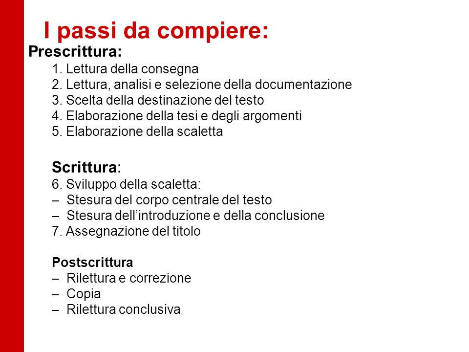 I passi da compiere: Prescrittura: 1. Lettura della consegna 2. Lettura, analisi e selezione della documentazione 3. Scelta della destinazione del tes