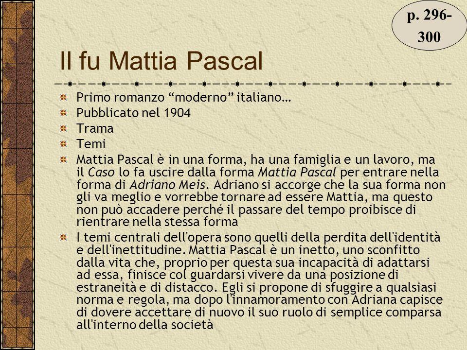 Il fu Mattia Pascal Primo romanzo moderno italiano… Pubblicato nel 1904 Trama Temi Mattia Pascal è in una forma, ha una famiglia e un lavoro, ma il Caso lo fa uscire dalla forma Mattia Pascal per entrare nella forma di Adriano Meis.