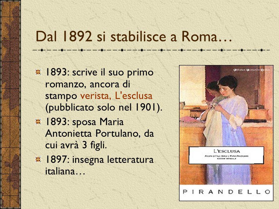 Dal 1892 si stabilisce a Roma… 1893: scrive il suo primo romanzo, ancora di stampo verista, L esclusa (pubblicato solo nel 1901).