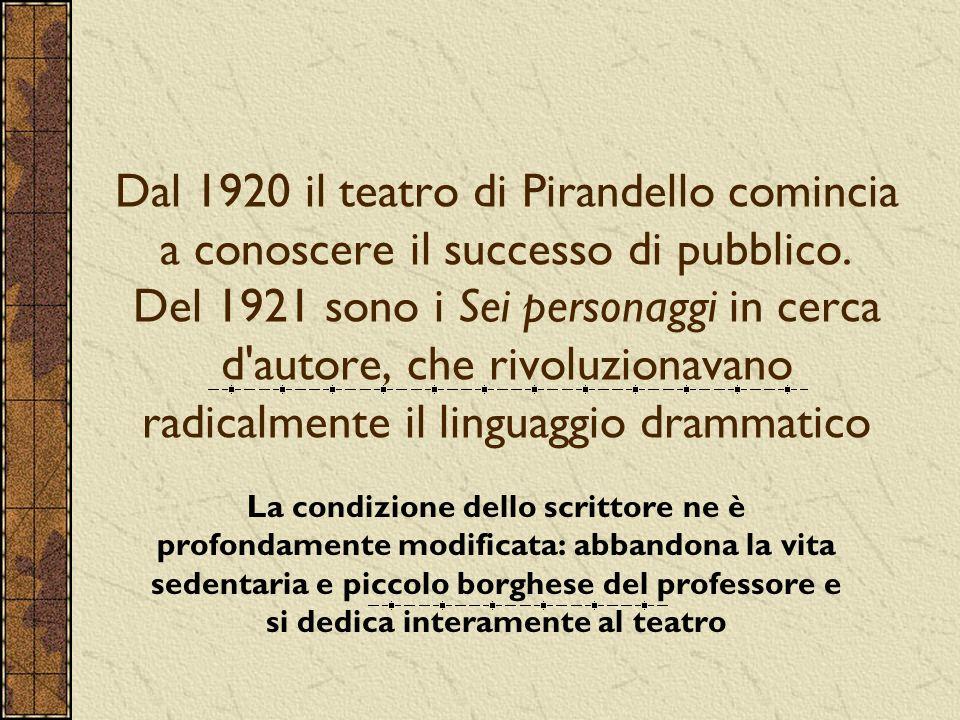 Dal 1920 il teatro di Pirandello comincia a conoscere il successo di pubblico.
