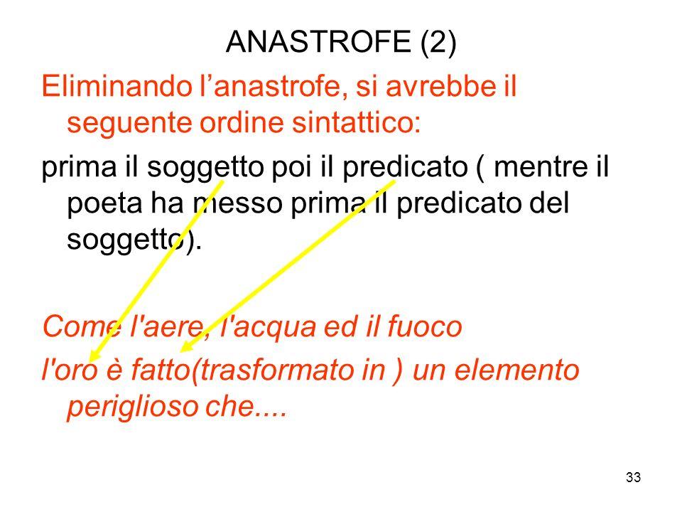 32 LE FIGURE DELL'ORDINE O DELLA SINTASSI (Tali figure riguardano l'ordine dei termini nelle frasi) ANASTROFE (1) L'anastrofe, o inversione, s ss si v