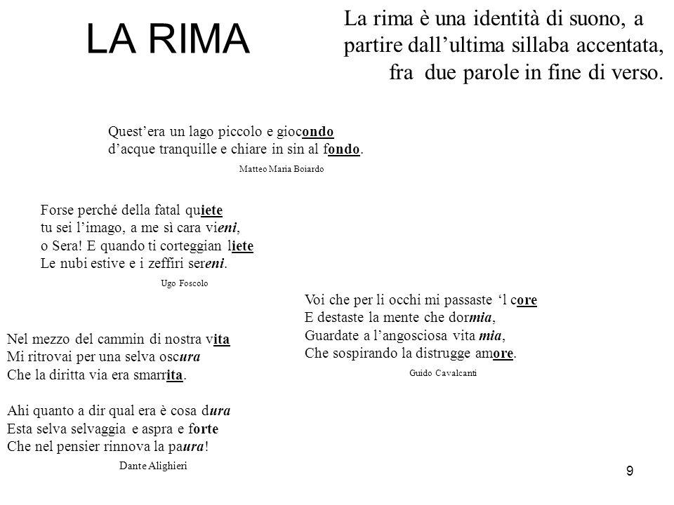 9 LA RIMA La rima è una identità di suono, a partire dallultima sillaba accentata, fra due parole in fine di verso.