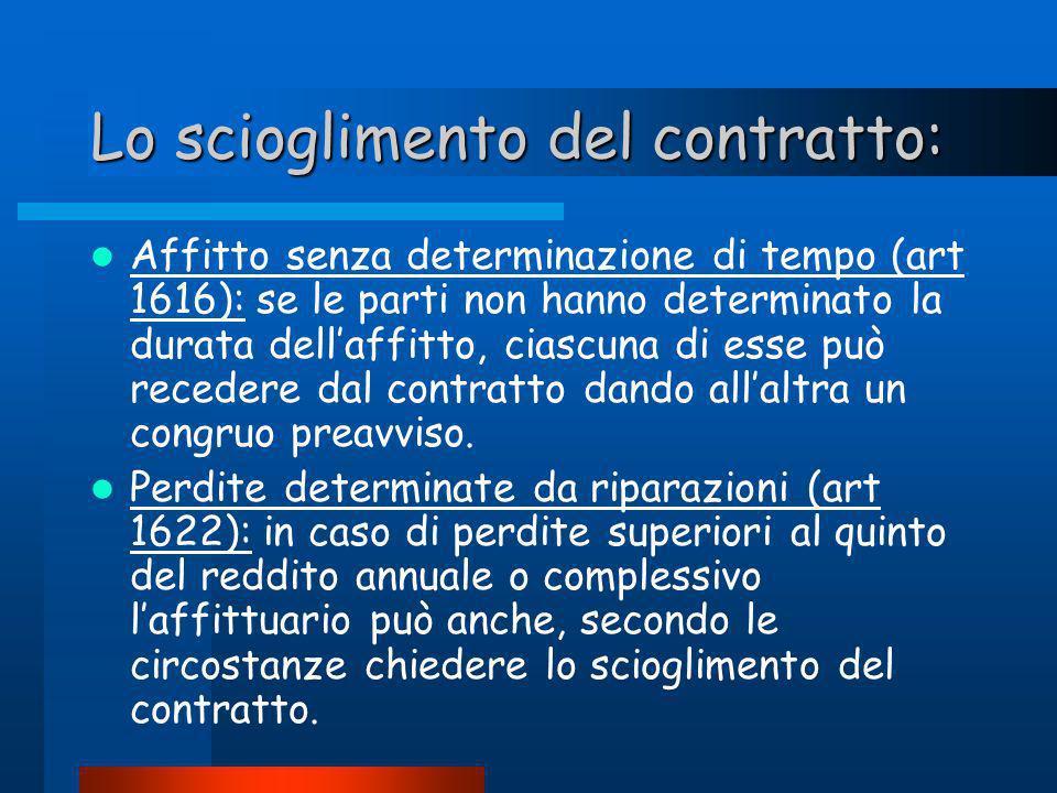 Lo scioglimento del contratto: Affitto senza determinazione di tempo (art 1616): se le parti non hanno determinato la durata dellaffitto, ciascuna di esse può recedere dal contratto dando allaltra un congruo preavviso.