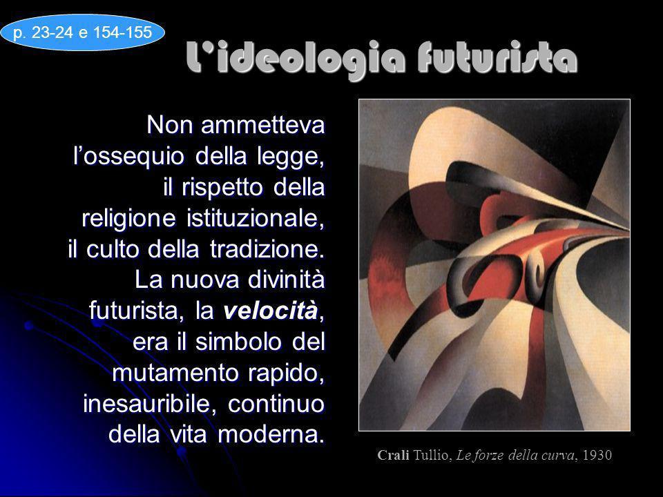 Lideologia futurista Non ammetteva lossequio della legge, il rispetto della religione istituzionale, il culto della tradizione. La nuova divinità futu
