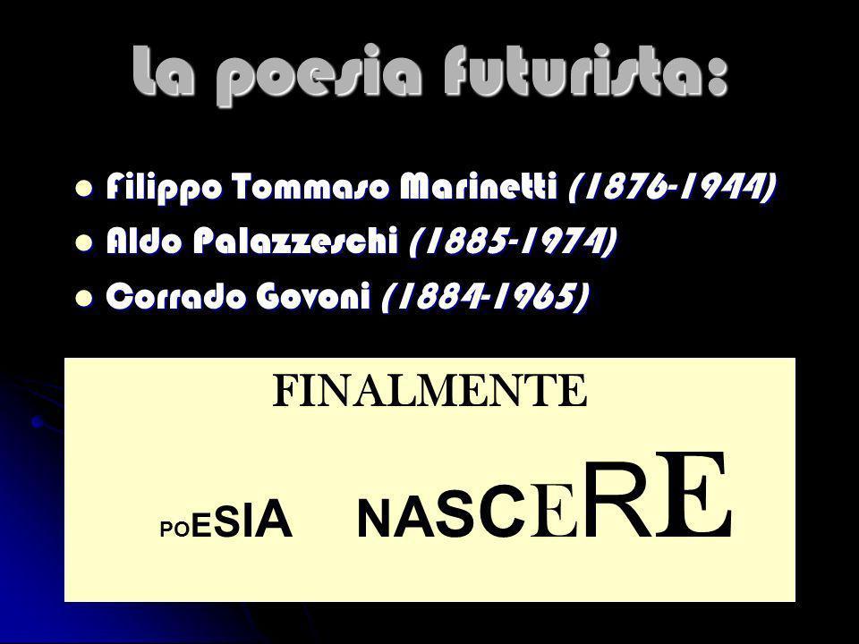 La poesia futurista: Filippo Tommaso Marinetti (1876-1944) Filippo Tommaso Marinetti (1876-1944) Aldo Palazzeschi (1885-1974) Aldo Palazzeschi (1885-1